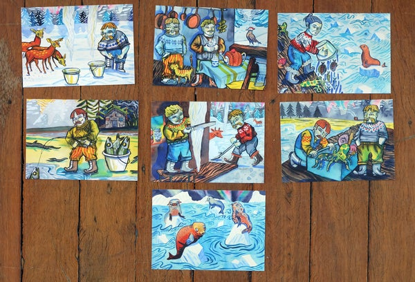 Image of Nordic Postcards featuring Moustaches and Fairisle Jumpers