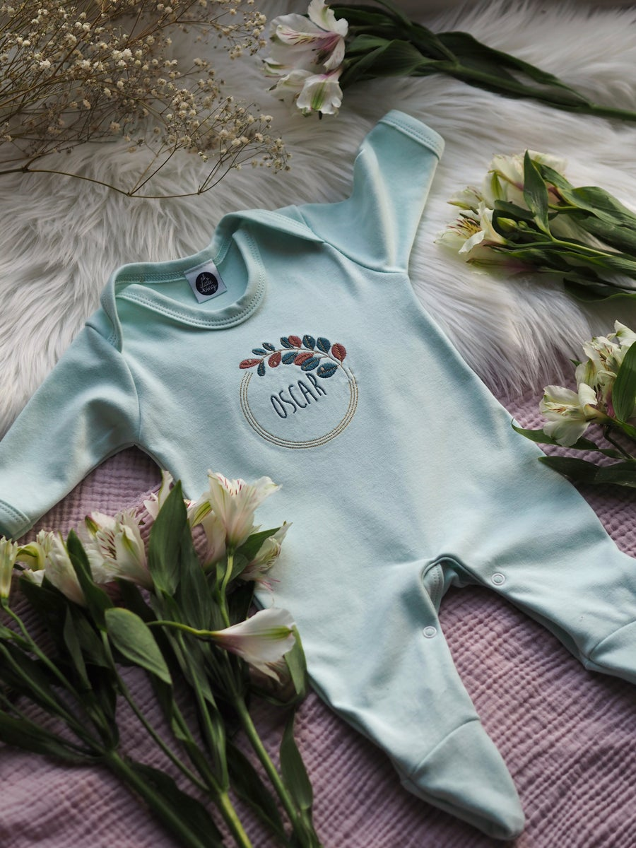 Image of Autumn Dew - mint baby grow