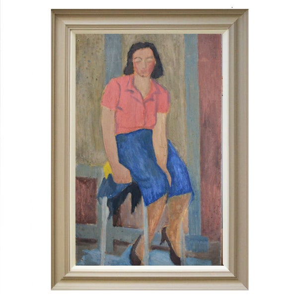 Image of 1940's Painting. 'Girl in a Red Blouse.'