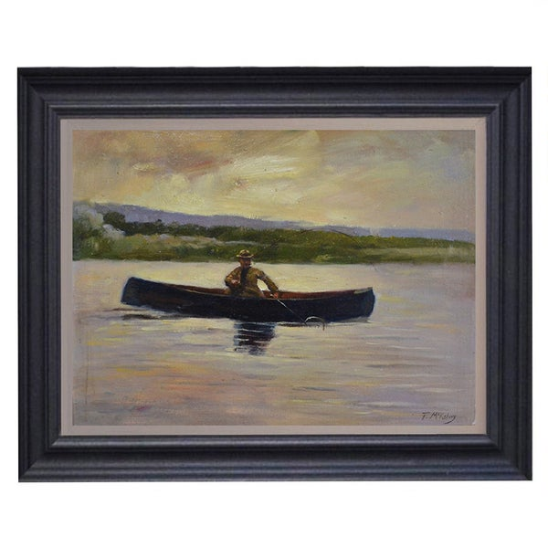 Image of Mid-century, Scottish Impressionist Painting, 'Loch Fishing.'