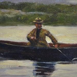 Image of Mid-century, Scottish Impressionist Painting, 'Loch Fishing.'