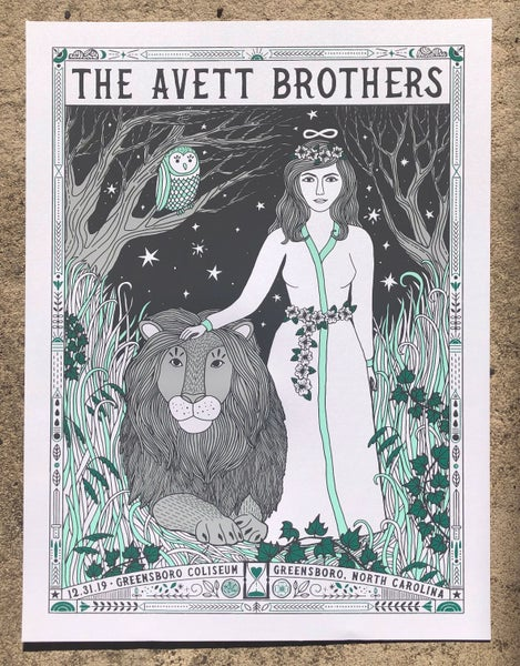 Image of The Avett Brothers NYE 2019 White Shimmer Variant