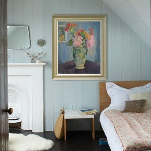 Image of Mid-century, French Still Life Painting, 'Dahlias.'