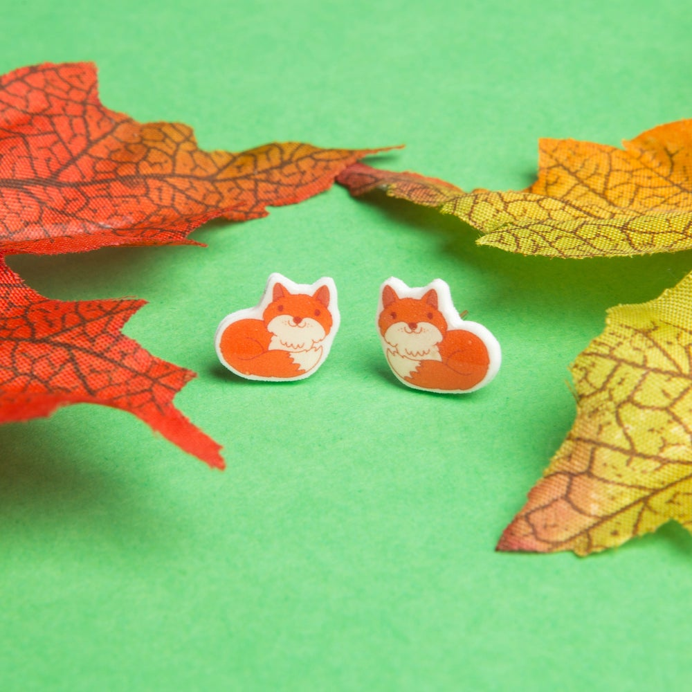 Image of Tiny Resin Fox Earrings