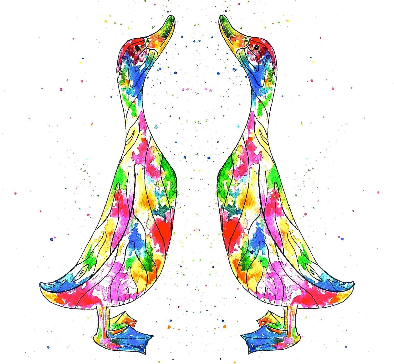 Image of 'Rainbow Ducks' Greeting Card