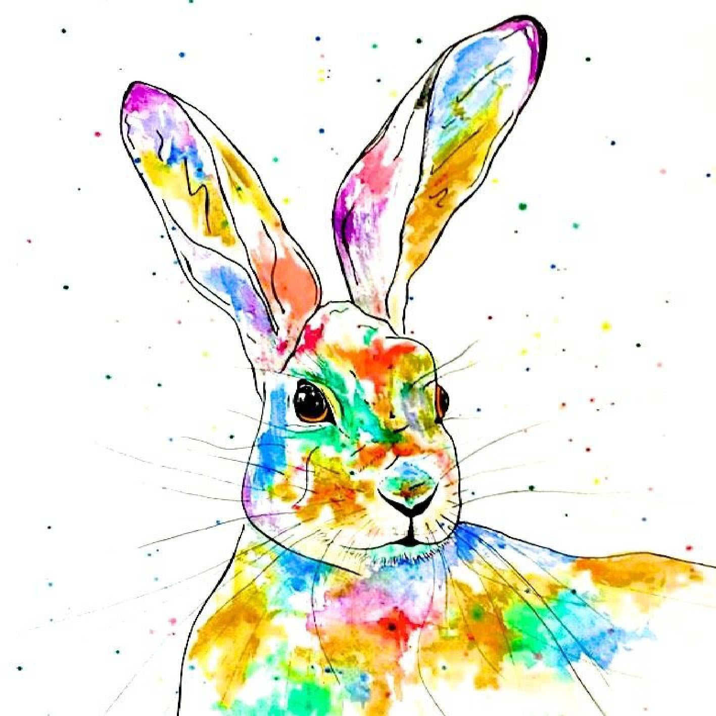 Image of 'Rainbow Hare' Greeting Card