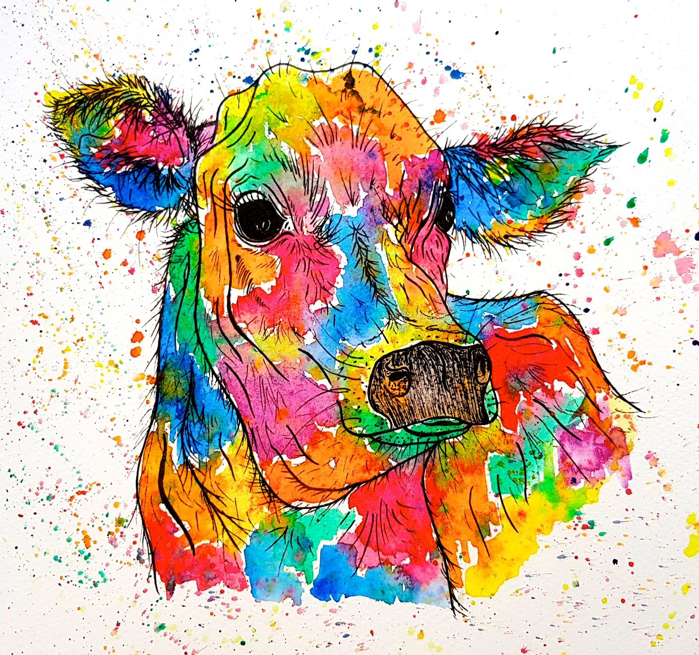Image of 'Rainbow Cow' Greeting Card