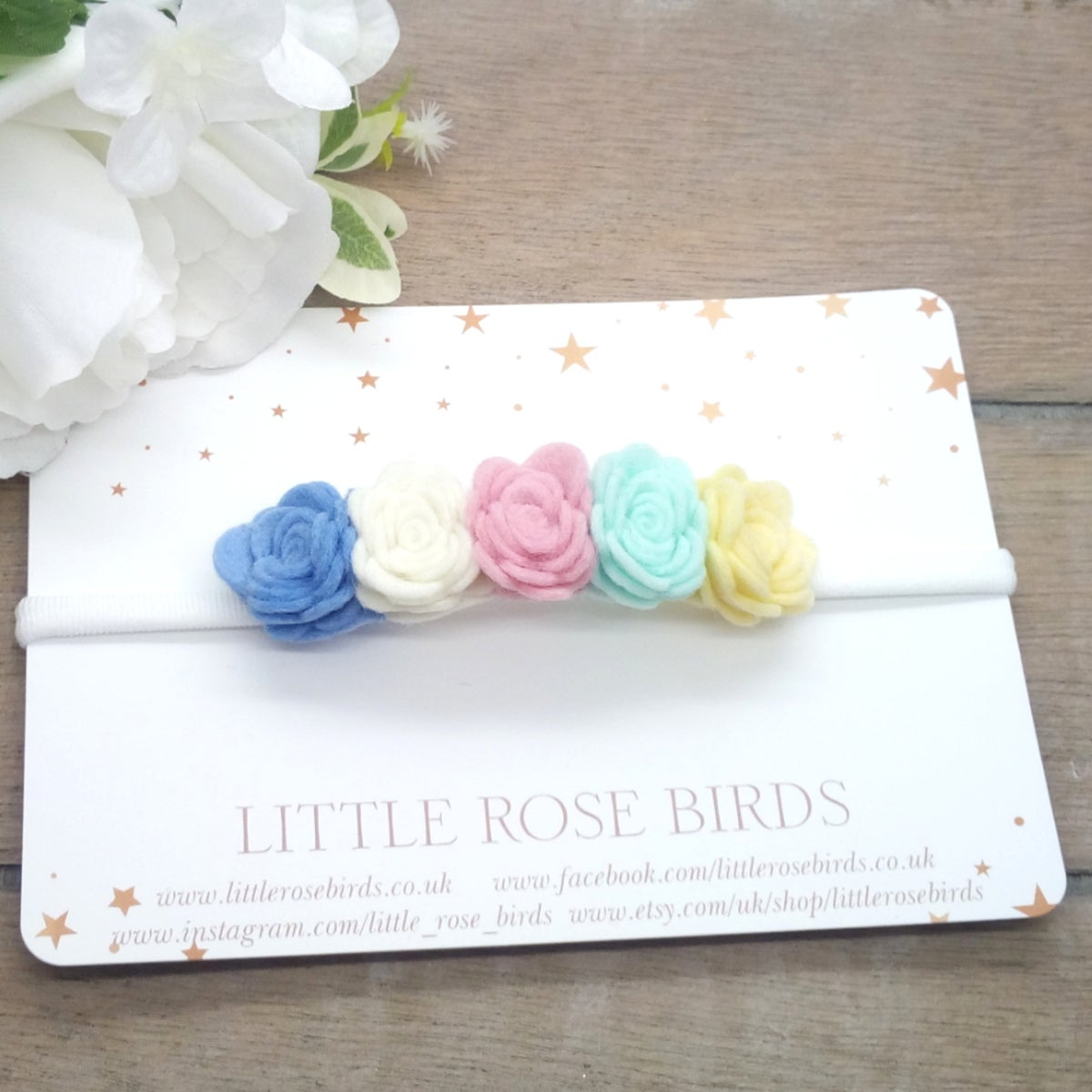Image of Pastel Rainbow Small 5 Rose Flower Crown Headband