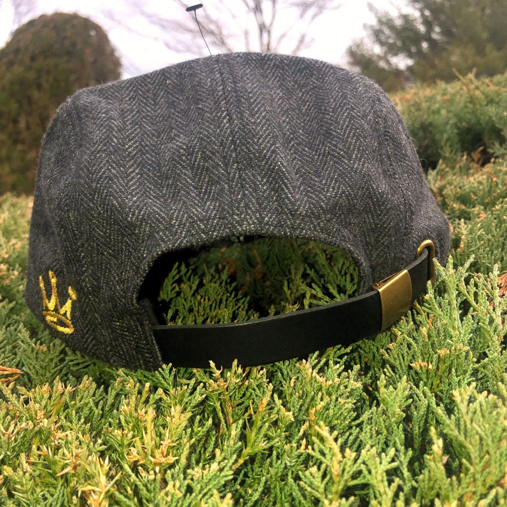 "Image of ""MEC ROYAL CROWN"" 5 PANEL, WOOL/POLYURETHANE, GENUINE LEATHER STRAP BACK ""THINKIN' CAP"""