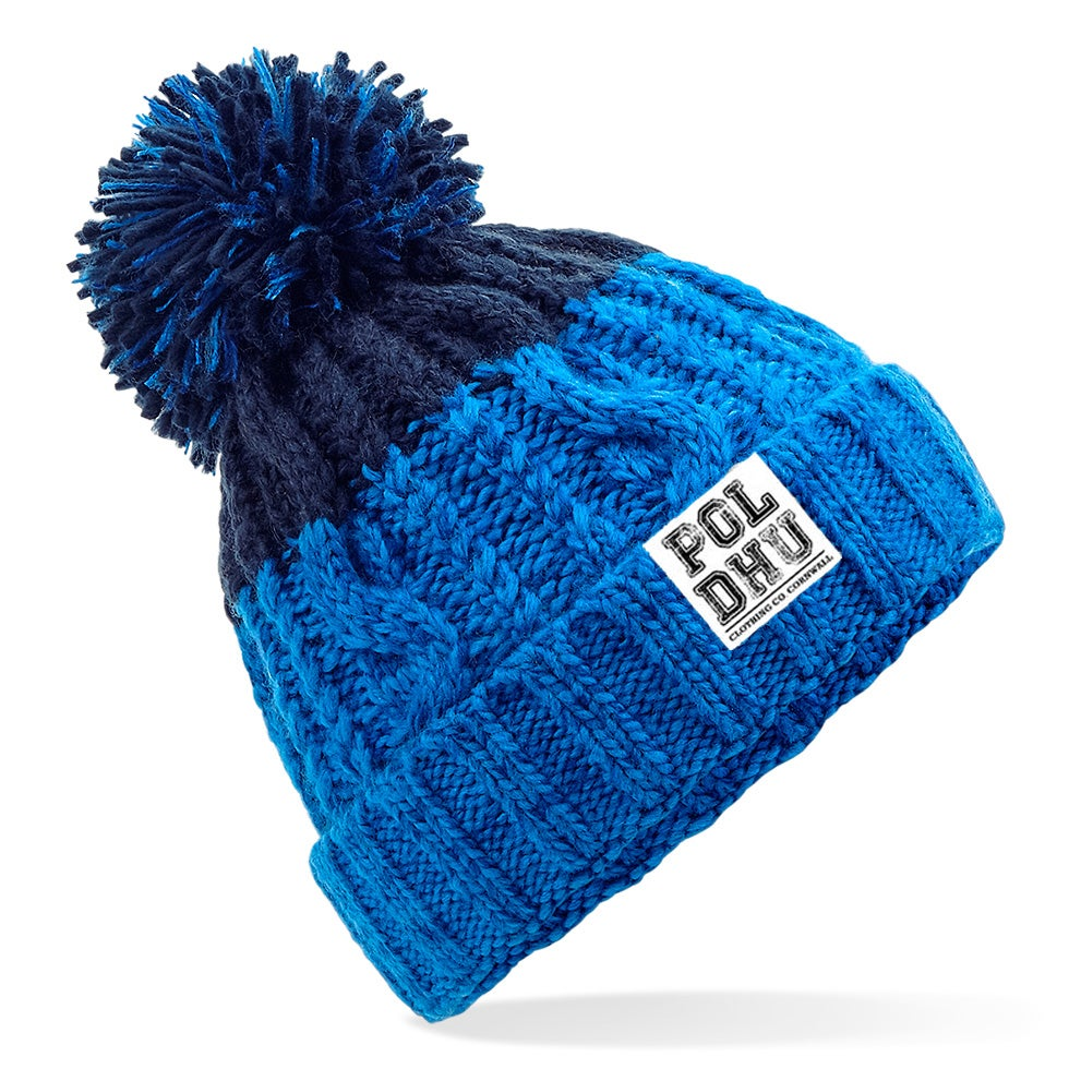 NAVY TIP CHUNKY BOBBLE HAT