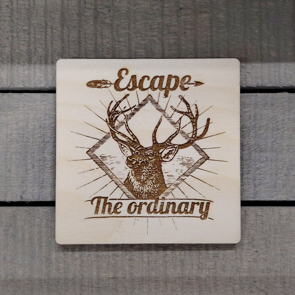 Image of Escape The Ordinary Deer Stag Wooden Coaster Drinks Mat