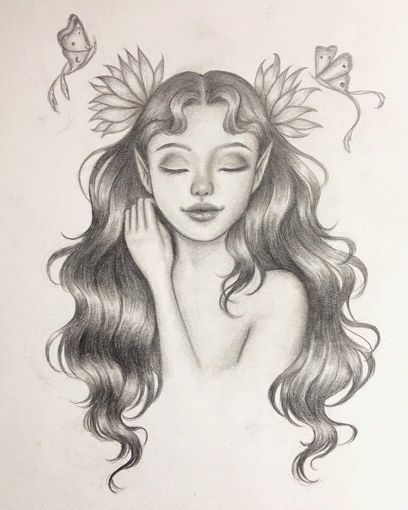 "Image of ""Laverna"" Original 5x7 Graphite Drawing"