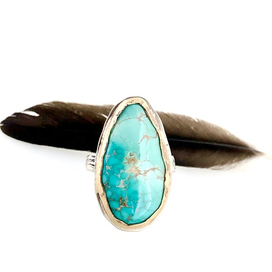 Image of Carico Lake turquoise ring . Size 8