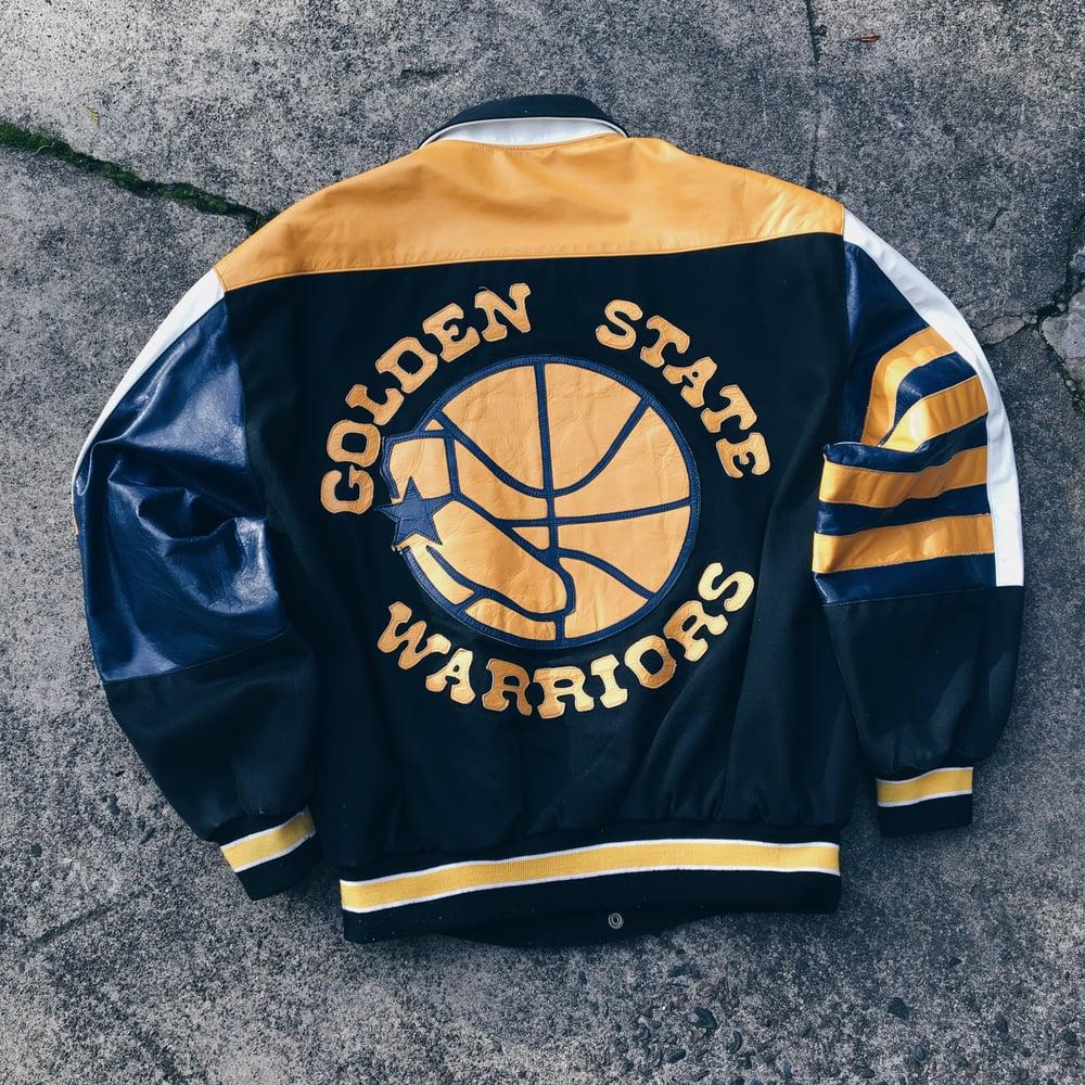 Image of Original 90's Jeff Hamilton Golden State Warriors Jacket.