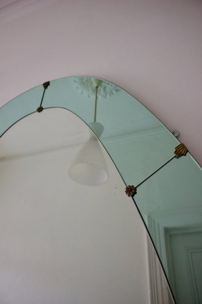 Image of Italian Floor-Standing Mirror with Blue Border by Colli, 1950s
