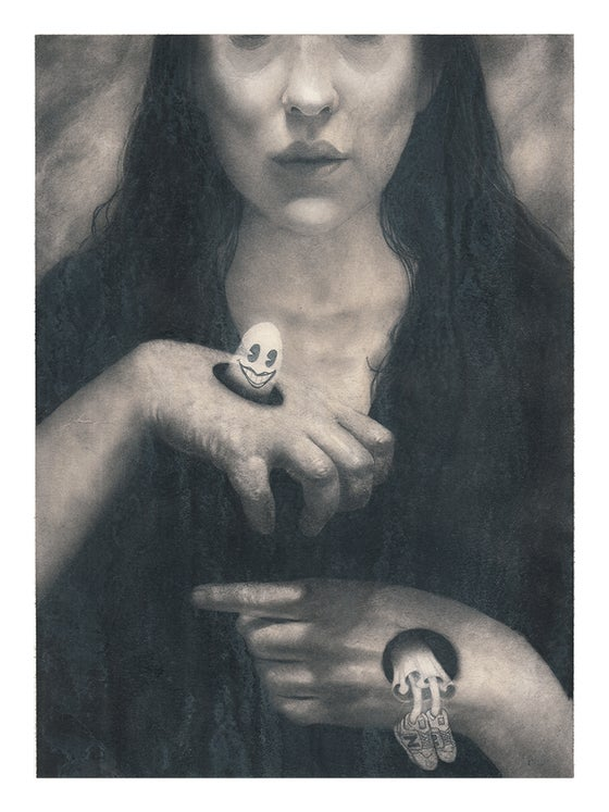 Image of Portrait of the Goth Hostess from Boston Pizza Playing with the Ghost of Her Late Husband Who Drowne