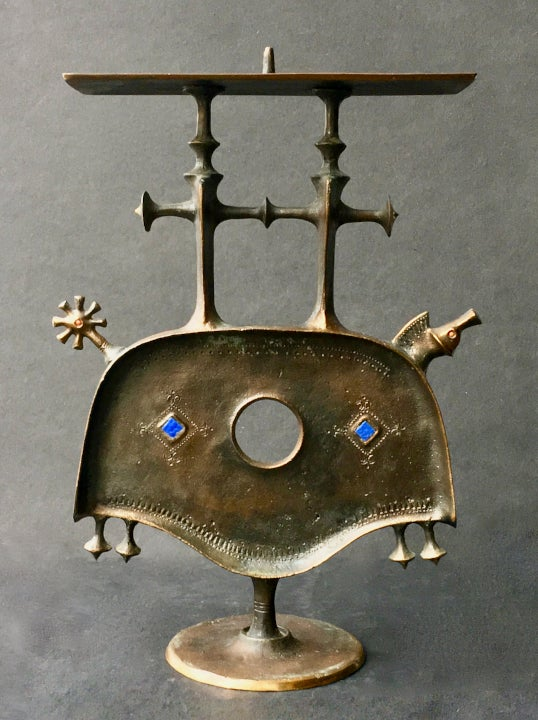 Image of Sculptural Bronze Candleholder, Hungary, Mid-20th Century