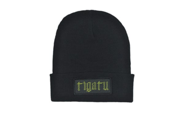 "Image of ""Shop"" Beanie - Black/ Olive Green"