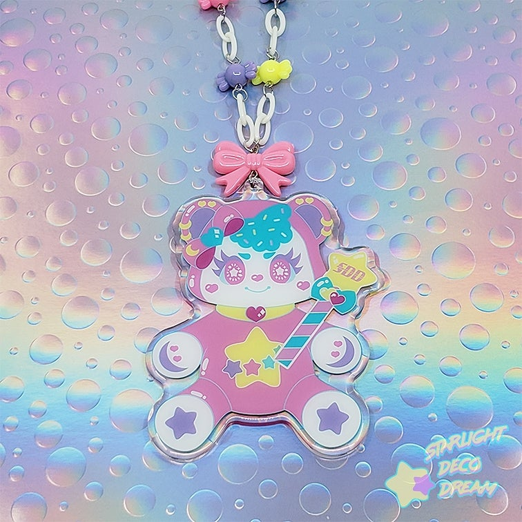 "Image of Charming Sweety ""Bubby Bear"" Epoxy-coated Acrylic Charm Necklace"