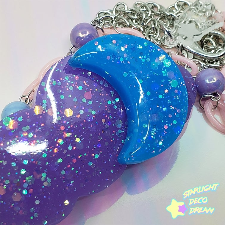 Image of Moonglow Cloud Necklace / Purple and Dark Blue Colourway | Epoxy + UV Resin Charm Necklace