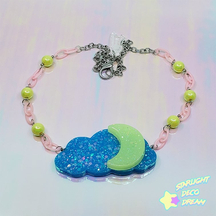 Image of  Moonglow Cloud Necklace / Neon Yellow and Bright Blue | Epoxy + UV Resin Charm Necklace