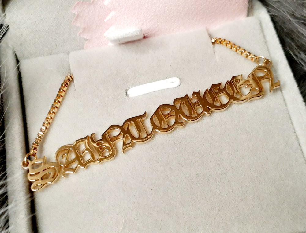 Image of S A I N T   Q U E E N  nameplate necklace