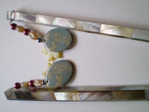 Gray Shell Hair Sticks with Beaded Charms