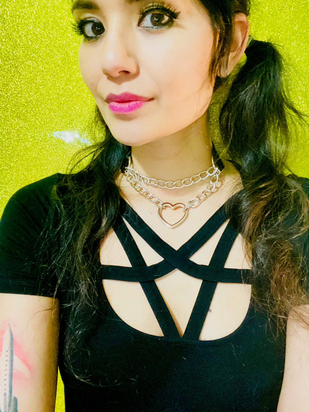 Red Chained Heart Choker