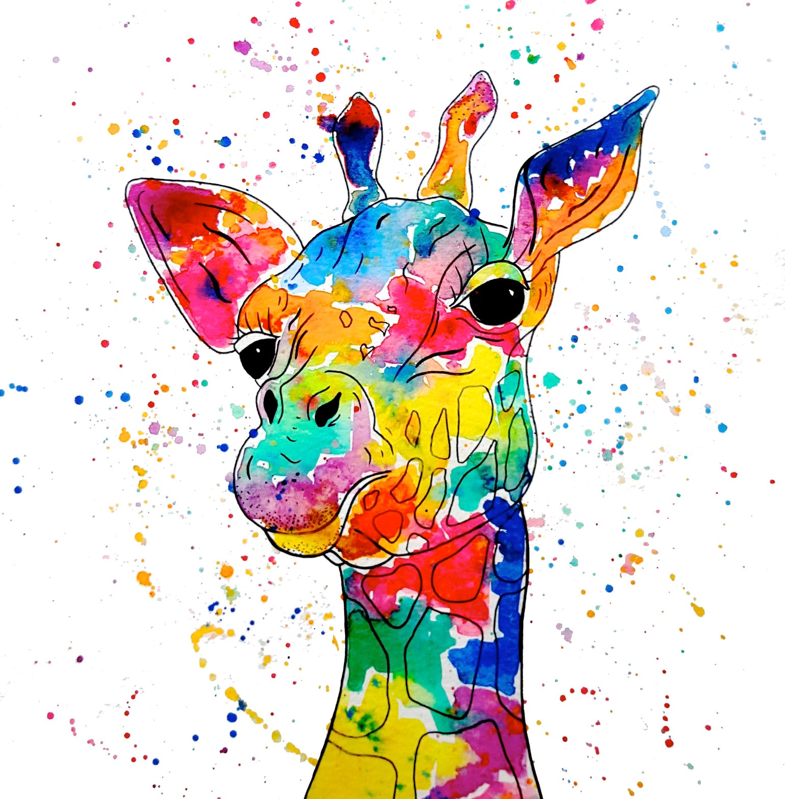 Image of 'Rainbow Giraffe' Greeting Card