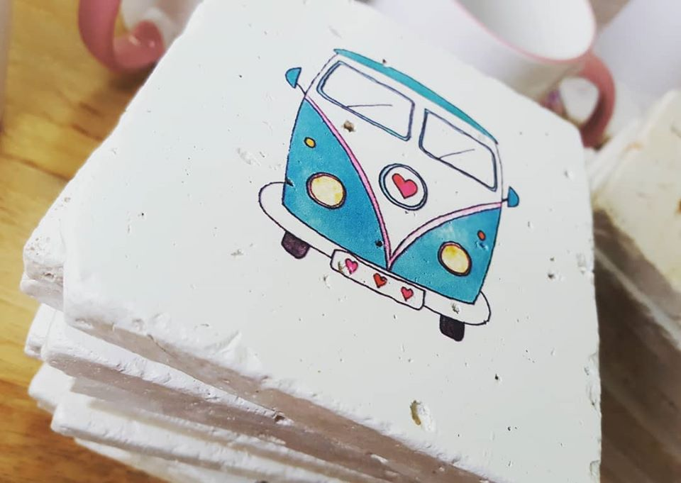 Image of 'Campervan' Stone Coaster