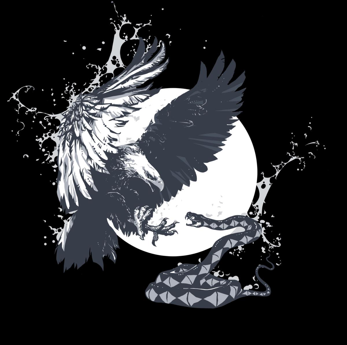 """""""EAGLE & SNAKE"""" White on Black T-Shirt"""