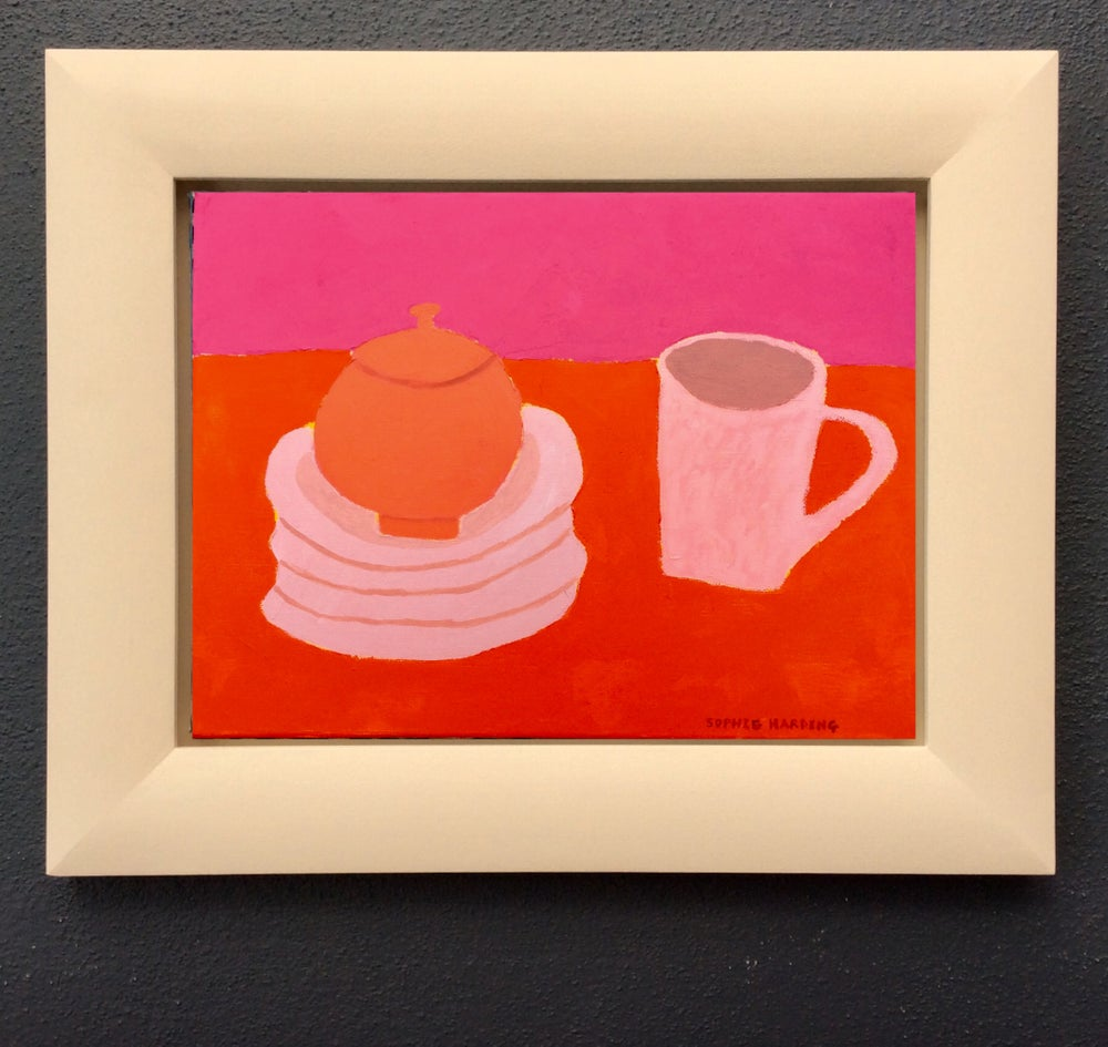 Image of Red Sugar Bowl and Pink Cup
