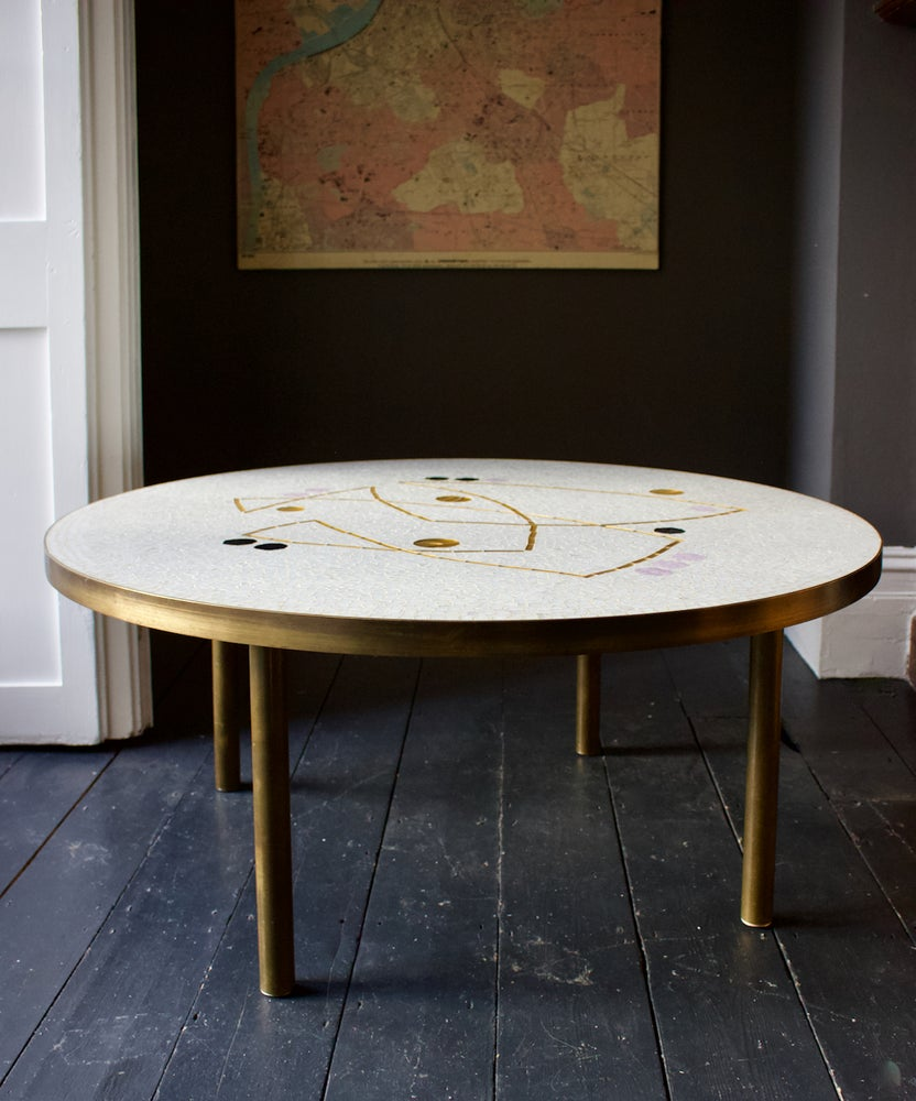 Image of Berthold Müller Mosaic Coffee Table with Gold and Lilac Accents