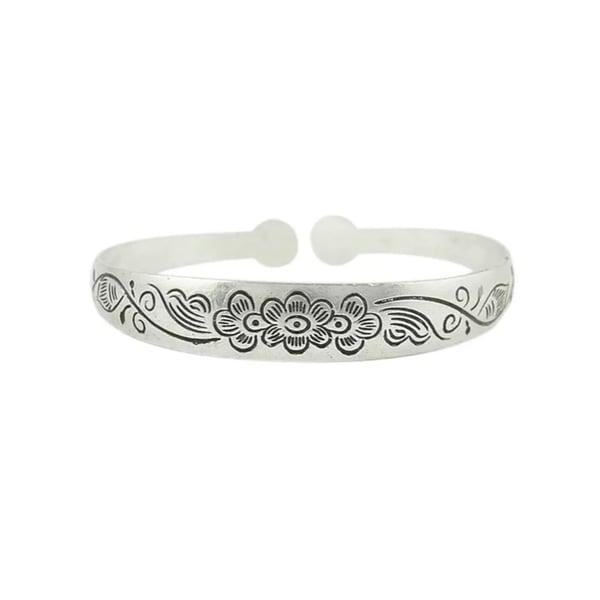 Image of Fleur floral carved cuff bracelet