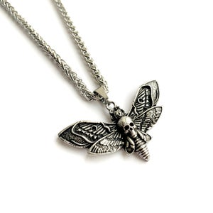 Image of Death's-head hawkmoth Pendant Silver Moth Necklace
