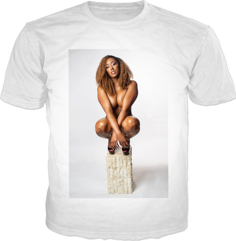 "Image of Jayda Jacobs ""put me on a pedestal"" fan tee - white"