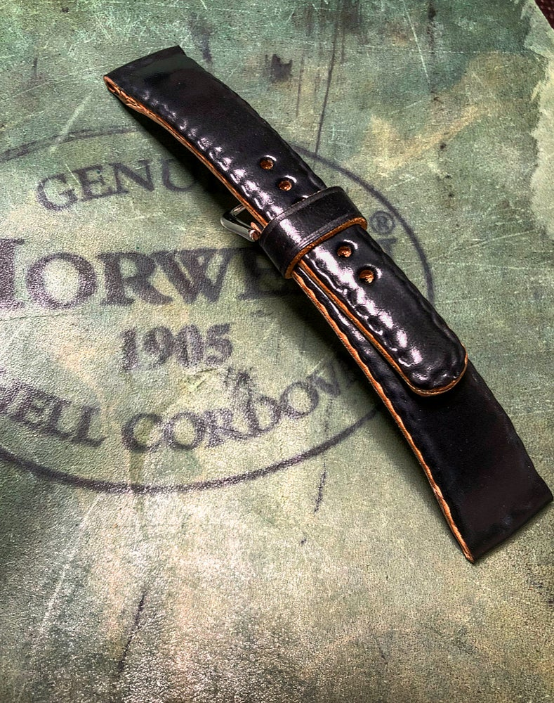 Image of Black SECRET STITCHING Horween shell cordovan strap