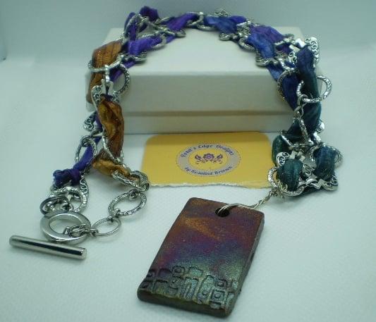 Raku and Ribbon Necklace
