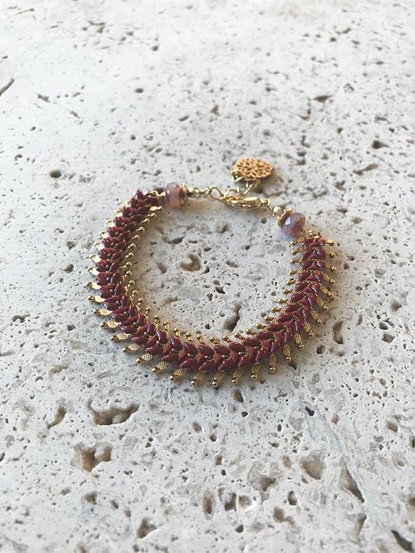 Image of Bracelet tissé INDIA Bordeaux -50%