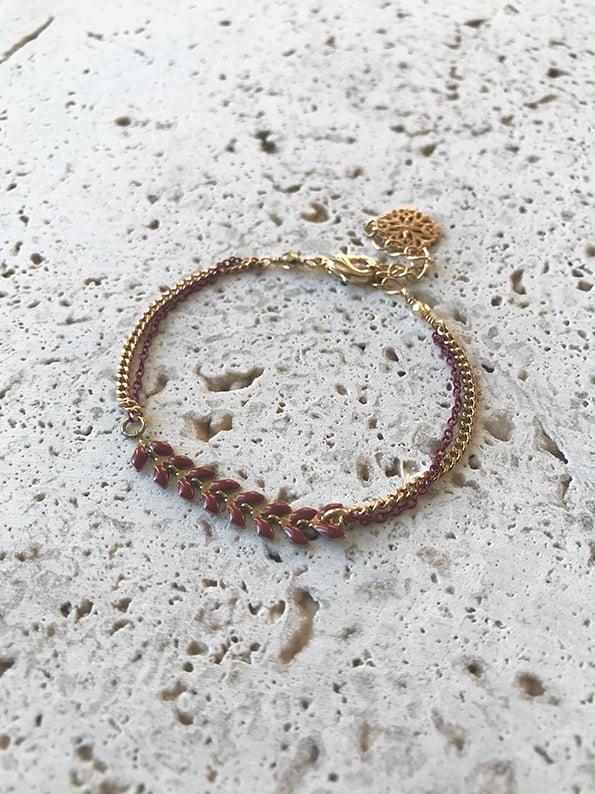 Image of Bracelet chaîne fine INDIA Bordeaux -50%