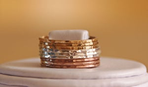 Image of TRI COLOR: 14k rose gold filled, yellow gold filled and sterling silver hammered stackable rings