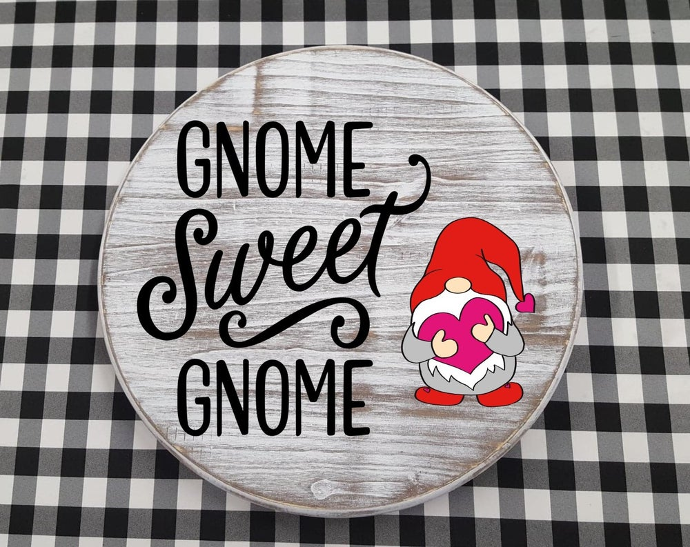 "Image of Interchangeable Gnome Sweet Gnome Sign - 18"" Round Sign"