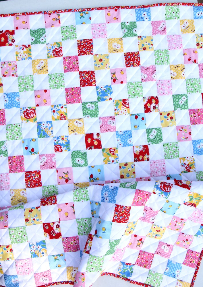 Image of 16-Patch Checkerboard Quilt & Cuddle Blankie PDF Pattern