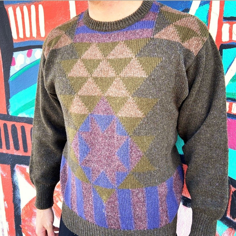 Image of Vintage 1980's Gucci Tribal Design Wool Sweater Sz.M