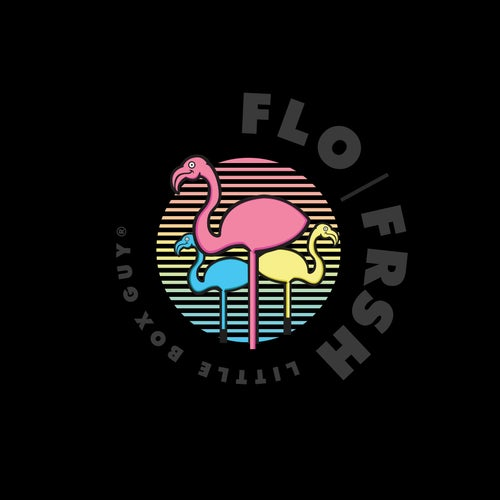 Image of Gradient FRSH Flamingos Crop Hoodie