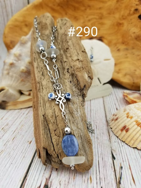 Image of Sea Glass- Kyanite- Agate- Necklace/Earrings- #290