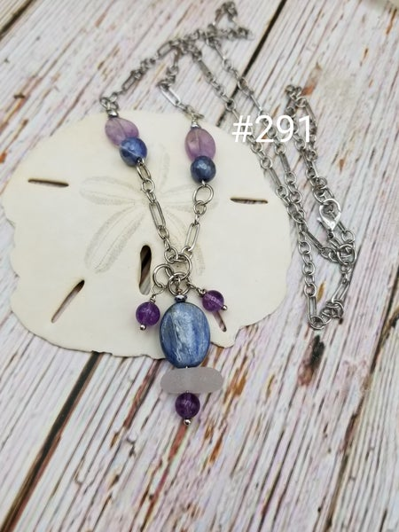 Image of Sea Glass- Kyanite- Amethyst- Necklace- #291