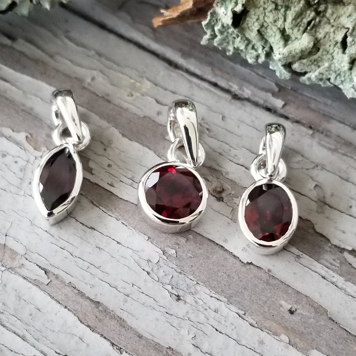 Image of Classic Faceted Pendants  - Garnet in Sterling