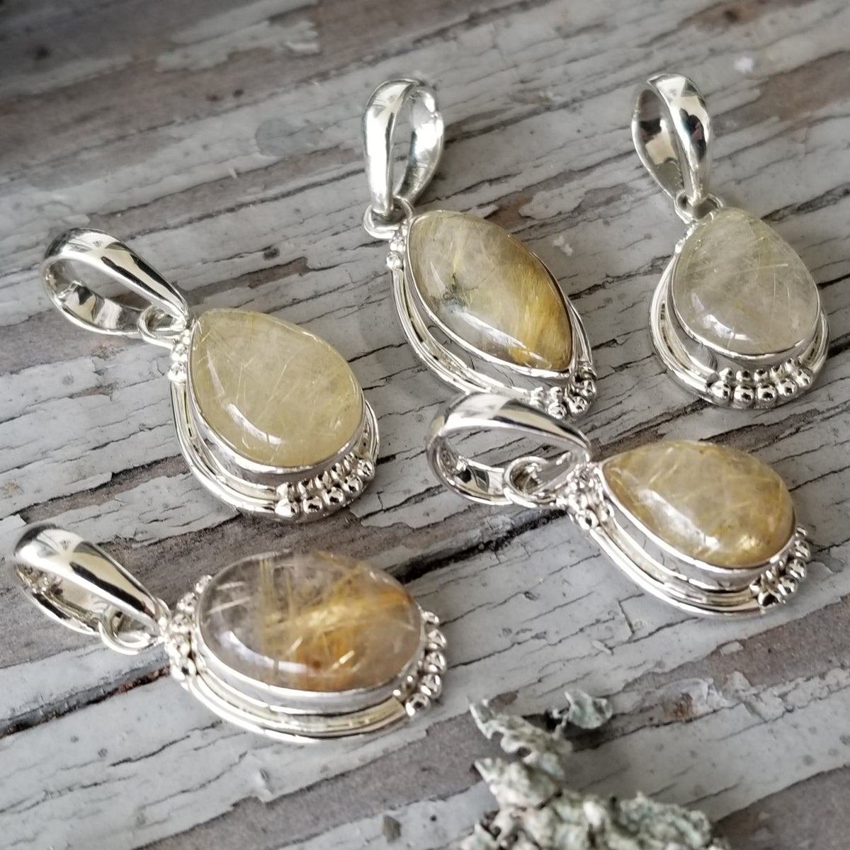 Image of Sweet Simplicity Pendants - Golden Rutile in Sterling