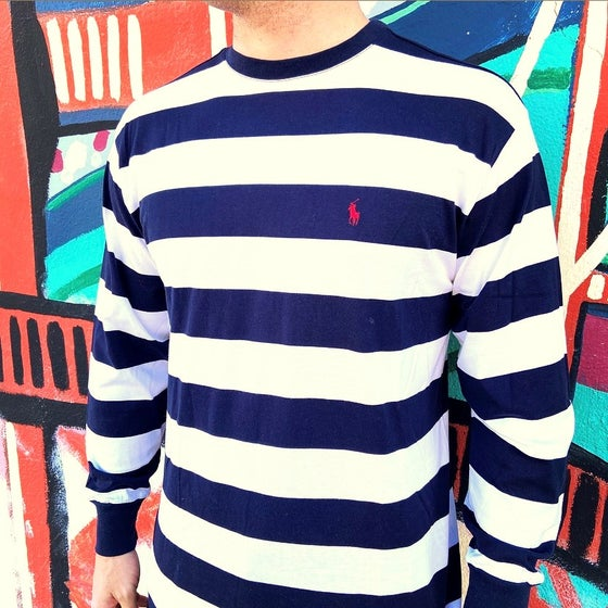 Image of Vintage 1990's Ralph Lauren Polo Striped Long Sleeve T-Shirt Sz.L